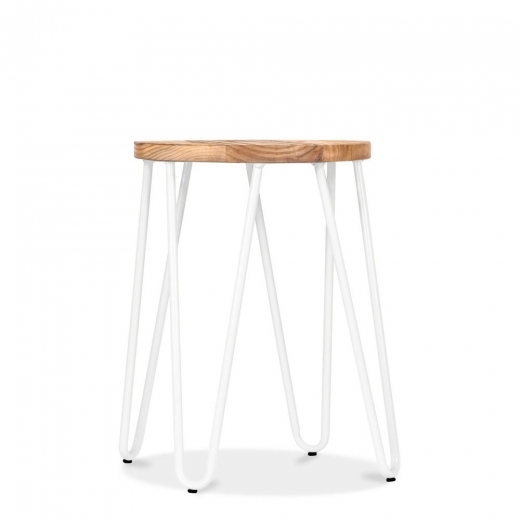 Cult Living Hairpin Stool with Wood Seat Option - White 46cm