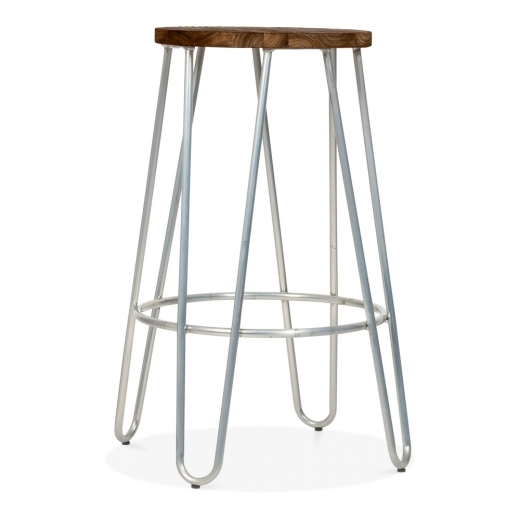 Cult Living Hairpin Stool with Wood Seat Option - Galvanised 66cm