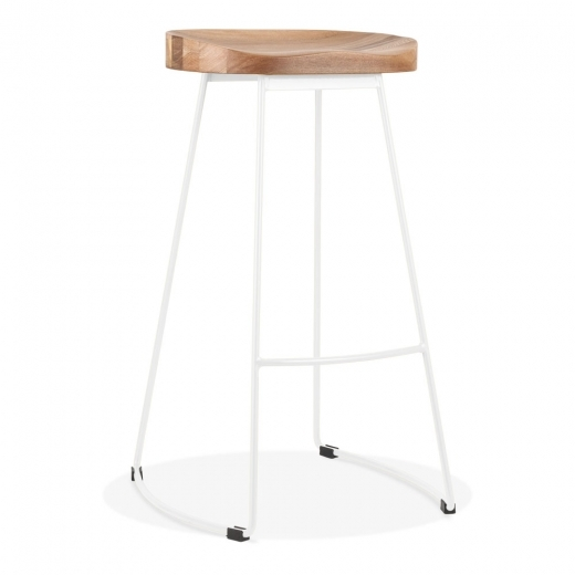 Cult Living Victoria Metal Bar Stool with Dark Wood Seat - Matte Grey 75cm - Clearance Sale