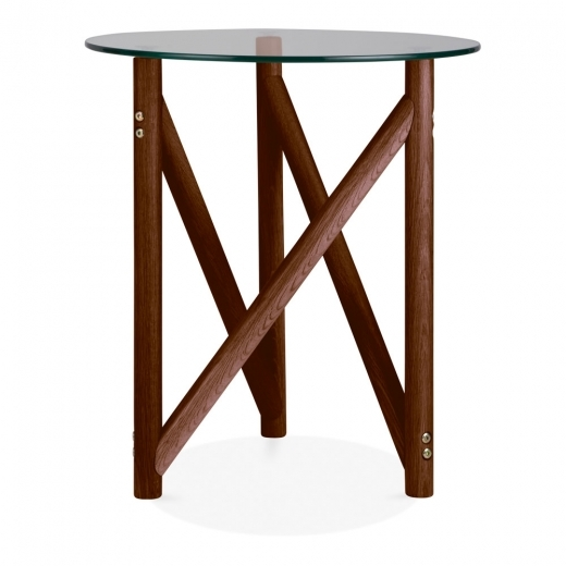 Cult Living Henrietta Glass Top Side Table, Solid Oak Wood, Brown
