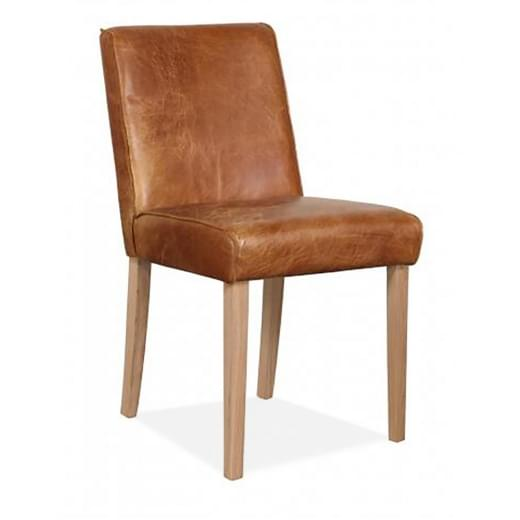 Cult Living Tobin Dining Chair, Premium Leather Upholstered, Tan