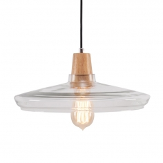 Aalborg Glass Round Pendant Light - Wood / Clear