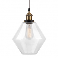 Industrial Clear Glass Pendant Light - Diamond