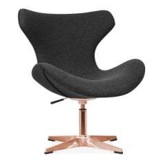 Vegas Lounge Chair With Aluminium Leg - Black / Copper