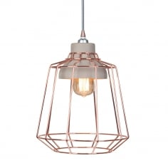 Stone Studio Cage Pendant Light - Copper / Concrete
