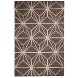 100% Wool Geometric Print Alpha Rug, Brown