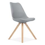 Grey Dining Chair with Pyramid Style Solid Oak Wood Legs