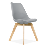 Cool Grey Dining Chairs With Solid Oak Crossed Wood Leg Base