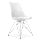 White Dining Chair with Eiffel Metal Legs