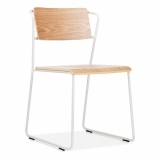 Tram Chair with Wood Seat Option - White - Clearance Sale