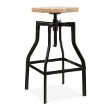 Industrial Swivel Adjustable Stool - Black 62-82cm