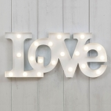 "Metal L.E.D 18"" Light Up Love Sign - White"