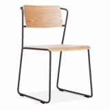 Tram Chair with Wood Seat Option - Gunmetal