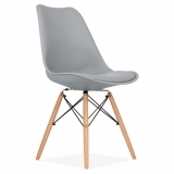 DSW Style Dining Chair with Natural Wood Legs - Cool Grey