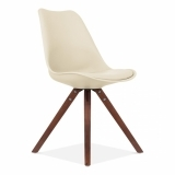 Cream Dining Chair with Pyramid Style Solid Oak Wood Legs