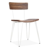 Hairpin Metal Chair with Wood Seat - White