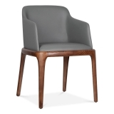 Scarlet Dining Armchair With Faux Leather Seat - Grey