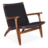 CH25 Lounge Chair - Brown / Black Seat