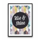 Geometric Rise and Shine Framed Print - A2 or A3 - Clearance Sale