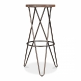 Hairpin Stool with Crossed Leg - Rustic 75cm - Clearance Sale