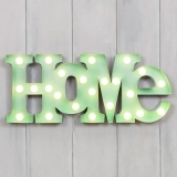 "Metal L.E.D 18"" HOME Light up Sign - Green"