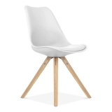 White Dining Chair with Pyramid Style Solid Oak Wood Legs
