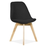 Black Upholstered Dining Chair With Solid Oak Crossed Wood Leg Base