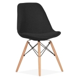 Black Upholstered Dining Chair with DSW Style Natural Wood Legs