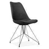 Black Dining Chair with Geometric Metal Legs