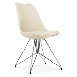 Cream Dining Chair with Geometric Metal Legs