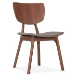 Poppy Wooden Dining Chair, Grey Upholstered, Walnut Finish