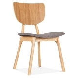 Poppy Wooden Dining Chair, Grey Upholstered, Natural