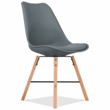 Soft Pad Dining Chair With Cross Brace Legs - Grey