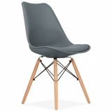 Dining Chair with DSW Style Natural Wood Legs - Grey
