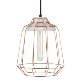 Scandi Tall Copper Cage Light With Concrete Bulb Holder