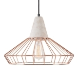 Scandi Copper Cage Light With Concrete Bulb Holder