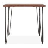 Hairpin Square Dining Table with Solid Wood Top - Black 80cm