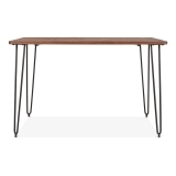 Hairpin Rectangular Dining Table With Solid Wood Top - Black 120cm