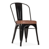 Tolix Style Metal Side Chair with Cushion Colour Option - Black