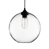 Industrial Solitaire Modern Glass Pendant Light - Clear