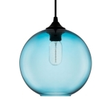 Industrial Solitaire Modern Glass Pendant Light - Bright Blue