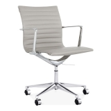 Ribbed Office Chair with Short Back - Grey