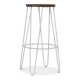 Hairpin Stool with Wood Seat Option - Light Grey Matte 76cm