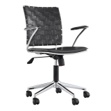 Ryder Lattice Office Chair, Black Faux Leather, Chrome