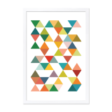 Geometric Triangle Framed Poster - Lime A2