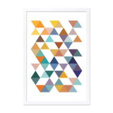 Geometric Triangle Framed Poster - Mustard A2