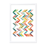 Geometric Zigzag Framed Poster - Lime A2