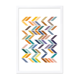 Geometric Zigzag Framed Poster - Mustard A2