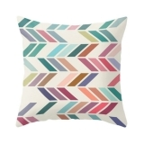Geometric Suedette ZigZag Cushion - Teal