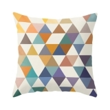 Geometric Suedette Triangle Cushion - Mustard
